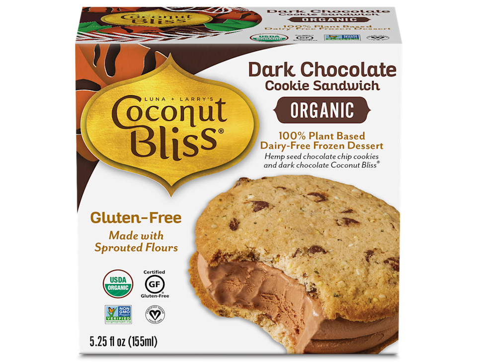 """<p>Let's hear it one more time for coconut milk. (Coconut just makes everything better, amirite?) Coconut Bliss makes a variety of ice cream pints, sandwiches, and bars—all organic, gluten-free, and 100% plant based. </p><p><em>Our choice: Dark Chocolate Cookie Sandwich</em></p><p><a class=""""link rapid-noclick-resp"""" href=""""https://coconutbliss.com/product/dark-chocolate/"""" rel=""""nofollow noopener"""" target=""""_blank"""" data-ylk=""""slk:BUY NOW"""">BUY NOW</a></p>"""