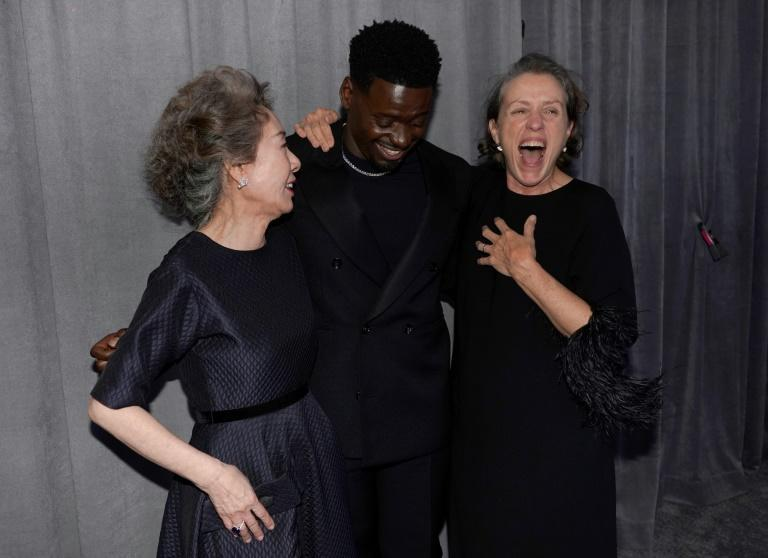 The Oscars provided some exciting wins, including the first for a South Korean actress, Youn Yuh-jung (L); British actor Daniel Kaluuya (C) and Frances McDormand (R) were also winners