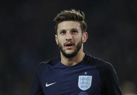 England's Adam Lallana in action