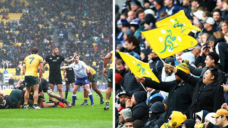 Wallabies defending against the All Blacks (pictured left) and a packed crowd in Wellington (pictured right).