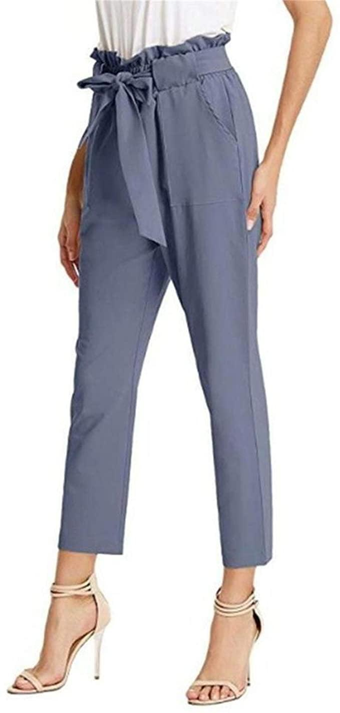 <p>The blue shade of these <span>Thlai Belted High Waist Pants</span> ($25) is so cute.</p>