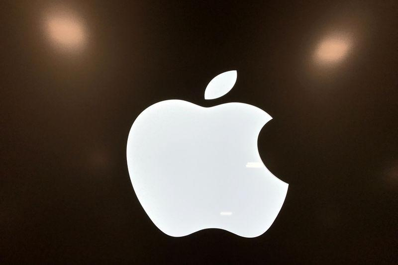 FILE PHOTO: An Apple logo is seen in a store in Los Angeles