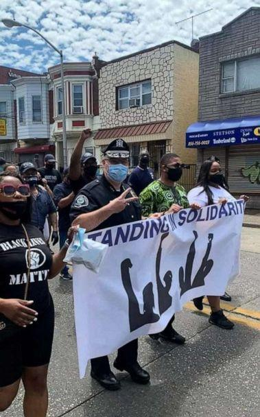 PHOTO: Camden police march with those honoring the recent death of George Floyd by Minneapolis police. (Camden Police via Twitter)