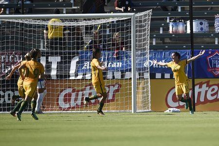 Aug 3, 2017; Carson, CA, USA; Australia forward Lisa De Vanna (11) reacts after scoring a goal against Brazil during the first half at StubHub Center. Mandatory Credit: Kelvin Kuo-USA TODAY Sports