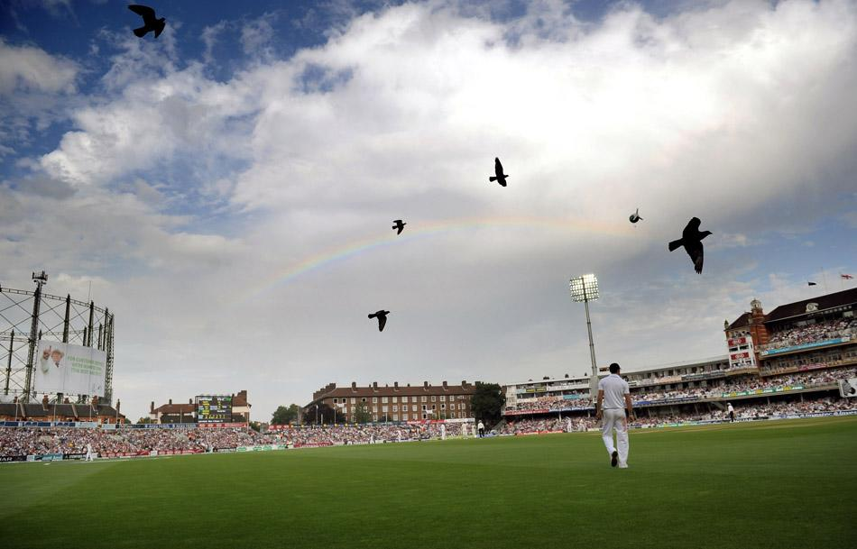 A rainbow is seen over the Kia Oval during day two of the Fifth Investec Ashes Test match at The Kia Oval, London.
