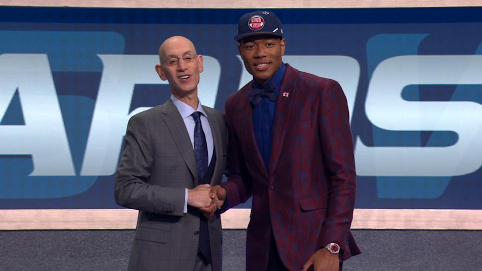 Rui Hachimura shakes NBA commissioner Adam Silver's hand after being selected as the ninth pick of the 2019 NBA draft by the Washington Wizards (CREDIT: NBA).