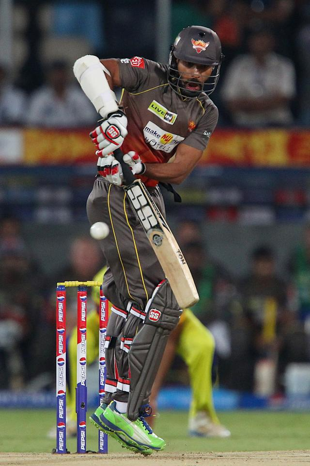 Shikhar Dhawan during match 54 of the Pepsi Indian Premier League between The Sunrisers Hyderabad and Chennai Superkings held at the Rajiv Gandhi International  Stadium, Hyderabad  on the 8th May 2013..Photo by Ron Gaunt-IPL-SPORTZPICS ..Use of this image is subject to the terms and conditions as outlined by the BCCI. These terms can be found by following this link:..https://ec.yimg.com/ec?url=http%3a%2f%2fwww.sportzpics.co.za%2fimage%2fI0000SoRagM2cIEc&t=1506418510&sig=mQKOfndf4oWVBcra4bmSMA--~D