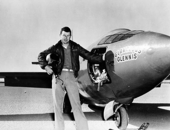USAF Capt. Charles E. Yeager (shown standing with the Bell X-1 supersonic rocket plane) became the first man to fly faster than the speed of sound in level flight on Oct. 14, 1947.