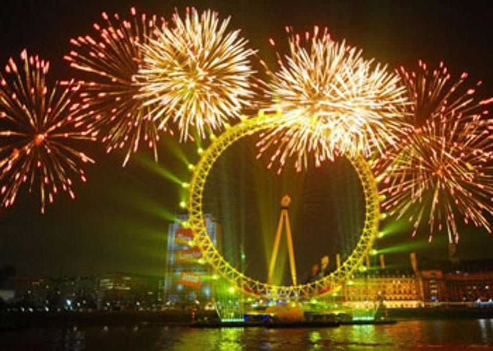 A previous spectacular firework display to see in the New Year at the London Eye