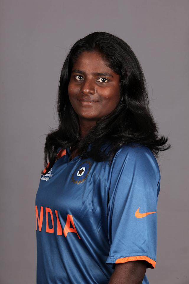 MUMBAI, INDIA - JANUARY 27: Thirushkamini M.D. of India poses at a portrait session ahead of the ICC Womens World Cup 2013 at the Taj Mahal Palace Hotel on January 27, 2013 in Mumbai, India. (Photo by Graham Crouch ICC via Getty Images)