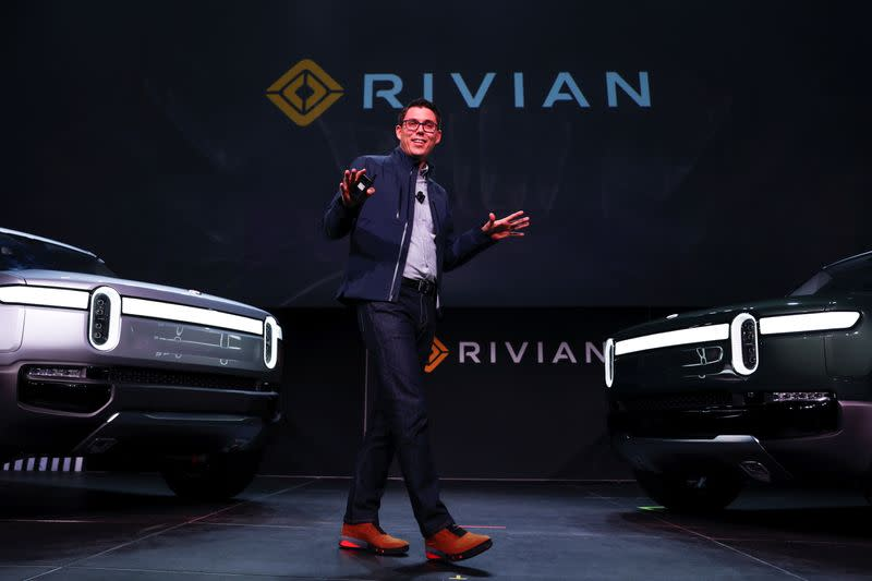 FILE PHOTO: Rivian introduces all-electric pickup and SUV at the LA Auto Show in Los Angeles
