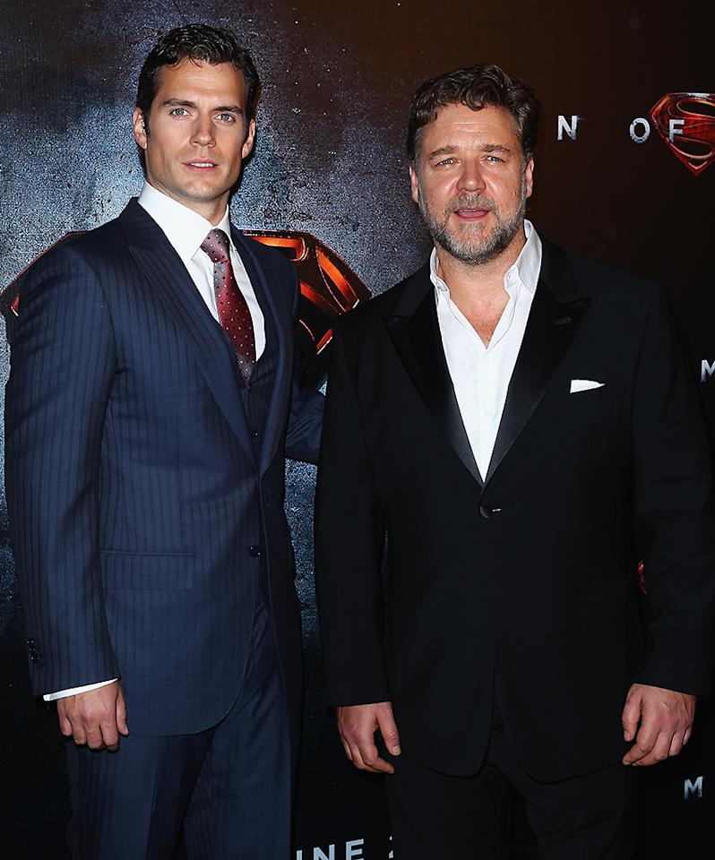 "SYDNEY, AUSTRALIA - JUNE 24:  Henry Cavill and Russell Crowe attend the ""Man Of Steel"" Australian Premiere at Event Cinemas, George Street on June 24, 2013 in Sydney, Australia.  (Photo by Don Arnold/WireImage)"