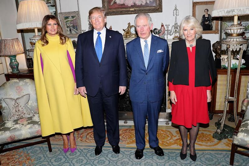 From left: First Lady Melania Trump and President Donald Trump meet with Prince Charles and Camilla, Duchess of Cornwall, for tea at Clarence House in London. | Chris Jackson - WPA Pool/Getty