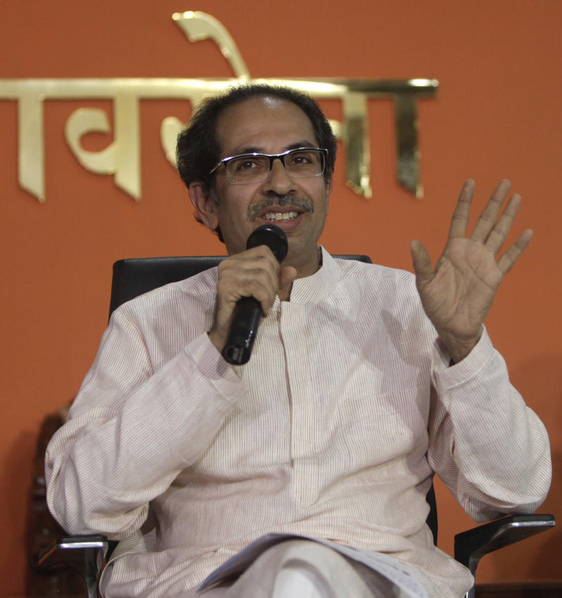 Shiv Sena President Uddhav Thackeray speaks during a press conference in Mumbai, India, Friday, Nov. 8, 2019. Thackeray accused the Bharatiya Janata Party (BJP) of betrayal, claiming that the BJP had agreed to share the post of chief minister on a rotational basis. (AP Photo)