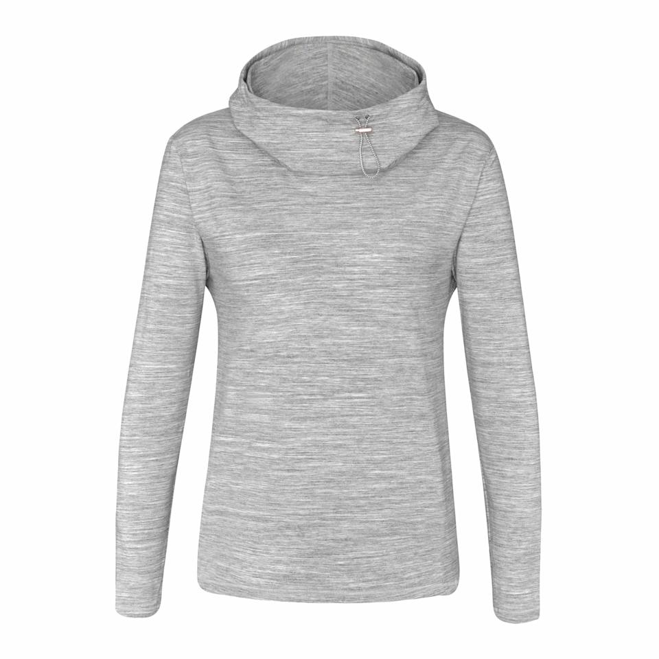 """<p>Made of high-performance tech fabric, this sweater is great for golf or hiking, and when you start cooling down or the wind blows, the cowl neck converts to a hoodie to keep you from catching a chill. $92, <a href=""""https://chase54.com/collections/womens-new-arrivals/products/ls8620?variant=5082963378208"""" rel=""""nofollow noopener"""" target=""""_blank"""" data-ylk=""""slk:chase54.com"""" class=""""link rapid-noclick-resp"""">chase54.com</a> </p>"""