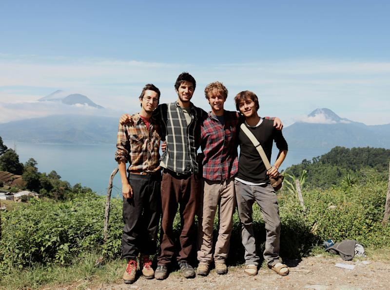 This 2010 photo provided by Living on One shows, from left, Sean Leonard, Zach Ingrasci, Chris Temple and Ryan Christoffersen in Pena Blanca, Guatemala. The foursome lived in the village on $1 a day per person for a summer to experience firsthand issues related to rural poverty, then made a film about their experiences. (AP Photo/Living on One)