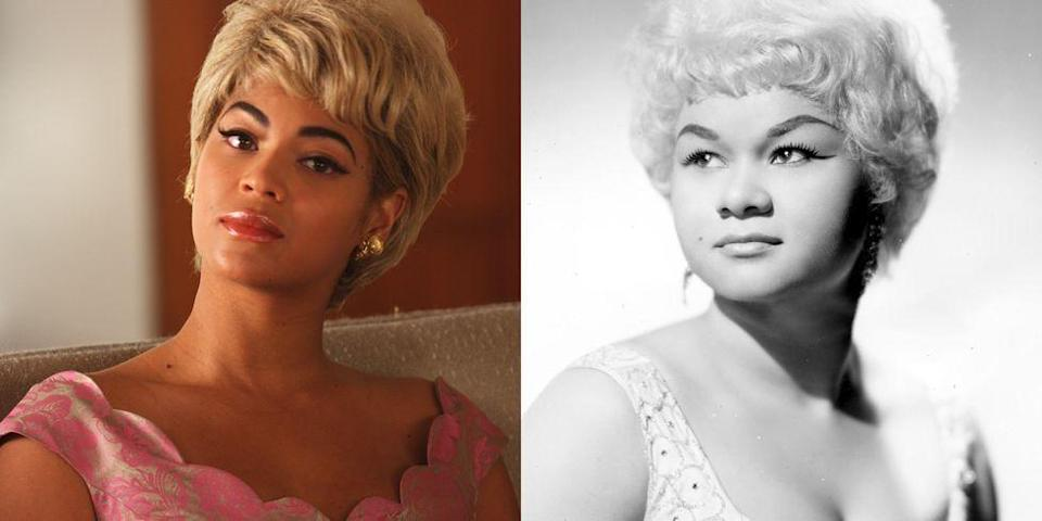 """<p>When Bey took on the role of the legendary singer Etta James in <em>Cadillac Records</em>, it changed how she saw music. """"The music I made before and after the movie were very different,"""" she said to <em><a href=""""https://www.nytimes.com/2008/11/16/arts/music/16ligh.html"""" rel=""""nofollow noopener"""" target=""""_blank"""" data-ylk=""""slk:The"""" class=""""link rapid-noclick-resp"""">The</a></em><a href=""""https://www.nytimes.com/2008/11/16/arts/music/16ligh.html"""" rel=""""nofollow noopener"""" target=""""_blank"""" data-ylk=""""slk:New York Times"""" class=""""link rapid-noclick-resp""""> <em>New York Times</em></a> in 2008. """"I was a lot more bold and fearless after I played Etta James, because of course some of the character stays with you. Some of the music I would have been afraid to make, I wasn't.""""</p>"""
