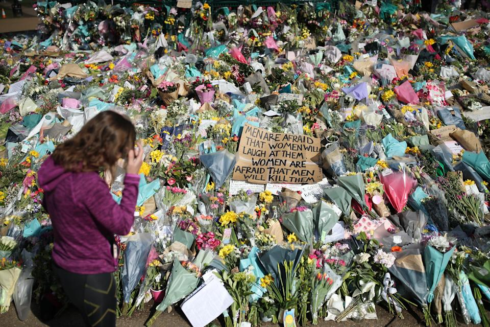 Floral tributes at the bandstand in Clapham Common, London, for Sarah Everard (Yui Mok/PA) (PA Wire)