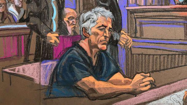 PHOTO: A courtroom sketch depicts billionaire financier Jeffrey Epstein in federal court in Manhattan on July 8, 2019. (Christine Cornell)