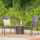<p>The <span>Downing Wicker Chat Set</span> ($250) has chairs that'll stack seamlessly on top of each other.</p>
