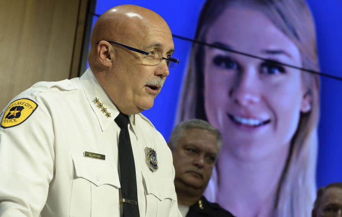 Salt Lake City Police Chief Mike Brown speaks at a news conference on Friday, June 28, 2019 in Salt Lake City. Brown said Ayoola A. Ajayi was being charged with aggravated murder, kidnapping, obstruction of justice and desecration of a body in the death of 23-year-old Mackenzie Lueck. He was arrested without incident earlier Friday morning by a SWAT team. (Francisco Kjolseth/The Salt Lake Tribune via AP)