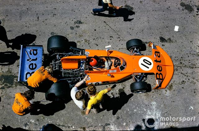 "Vittorio Brambilla, March 741 Ford, in the pits <span class=""copyright"">David Phipps</span>"