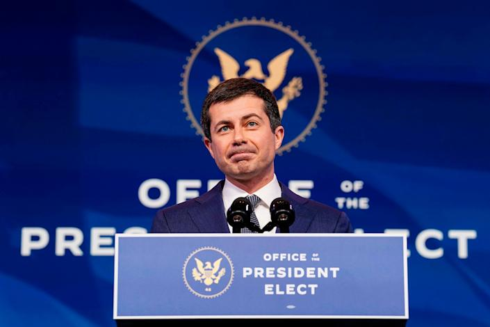 Former South Bend, Indiana Mayor Pete Buttigieg, President-elect Joe Biden's nominee to be secretary of transportation, speaks after Biden announced his nomination during a news conference at Biden's transition headquarters in Wilmington, Delaware, on Dec. 16, 2020.