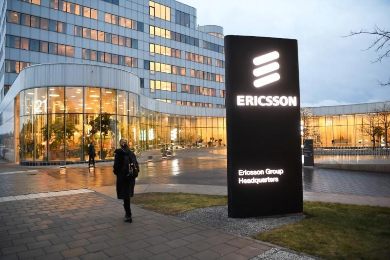 A general view of an exterior of the Ericsson headquarters in Stockholm