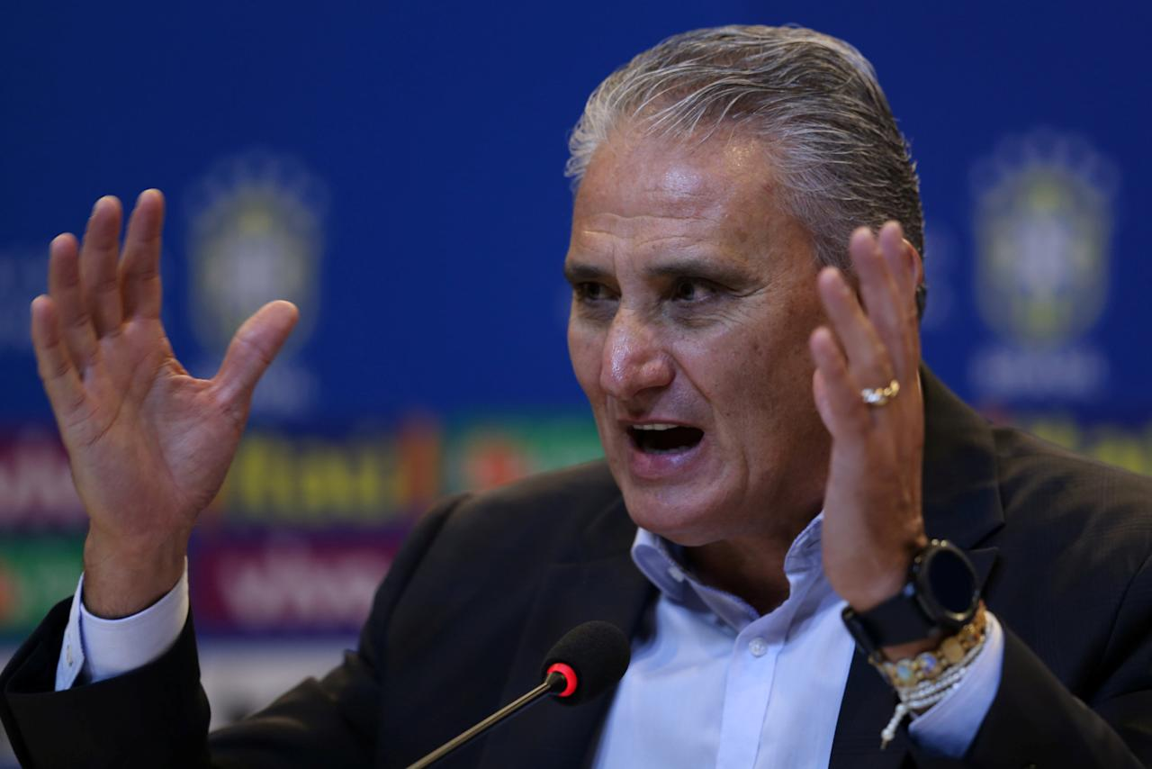 Soccer Football - World Cup 2018 Qualifiers - news conference - Brazilian Football Confederation (CBF) headquarters, Rio de Janeiro, Brazil, September 15, 2017. Brazilian national team head coach Tite attends a news conference to announce his team's squad which will play against Bolivia and Chile. REUTERS/Sergio Moraes