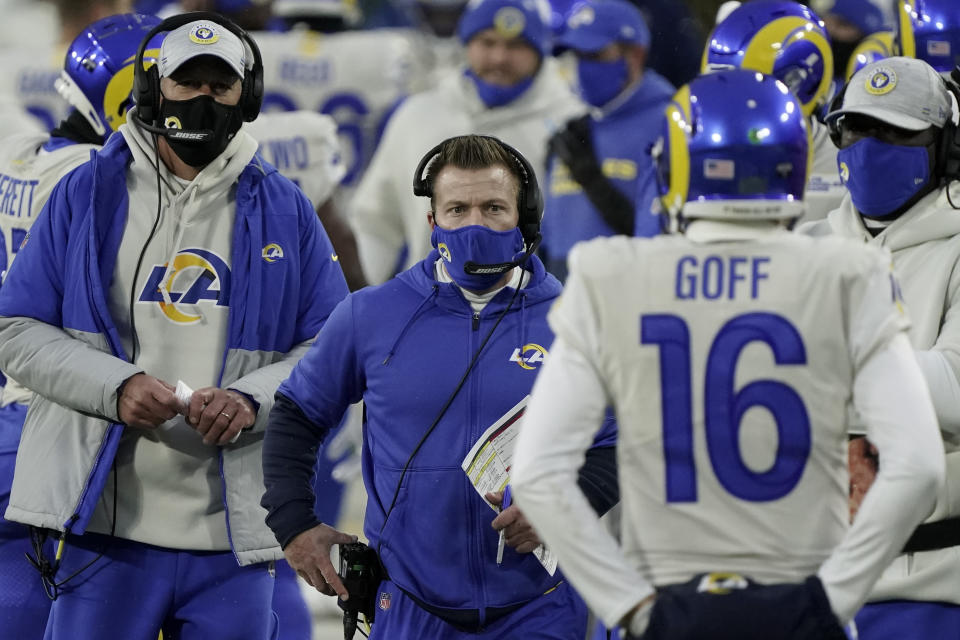 Rams head coach Sean McVay didn't offer the sternest commitment to quarterback Jared Goff going forward. (AP Photo/Morry Gash)