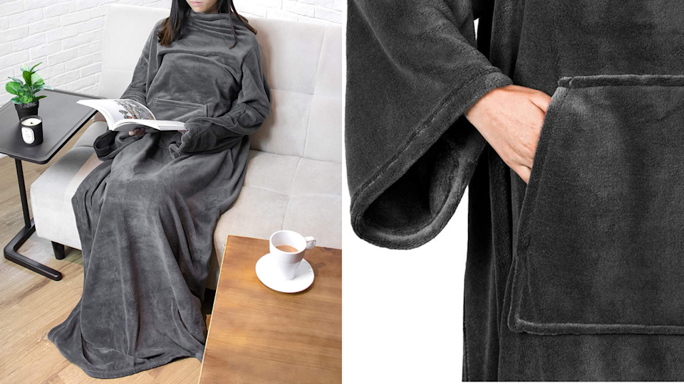 This wearable blanket comes with a spacious front pocket for extra storage–or just to keep your hands warm.