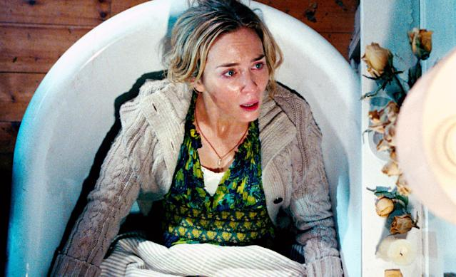Emily Blunt in the tense bathtub sequence in <em>A Quiet Place.</em> (Photo: Jonny Cournoyer/Paramount /Courtesy Everett Collection)