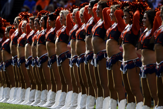 <p>The Denver Broncos cheerleaders work during the second quarter on Sunday, September 17, 2017. The Denver Broncos hosted the Dallas Cowboys. (Photo by Andy Cross/The Denver Post via Getty Images) </p>