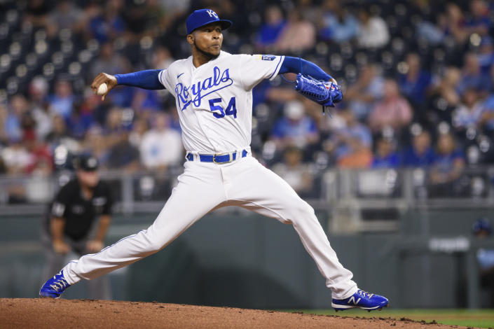 Kansas City Royals relief pitcher Ervin Santana throws to a Oakland Athletics batter during the second inning of a baseball game, Tuesday, Sept. 14, 2021 in Kansas City, Mo. (AP Photo/Reed Hoffmann)