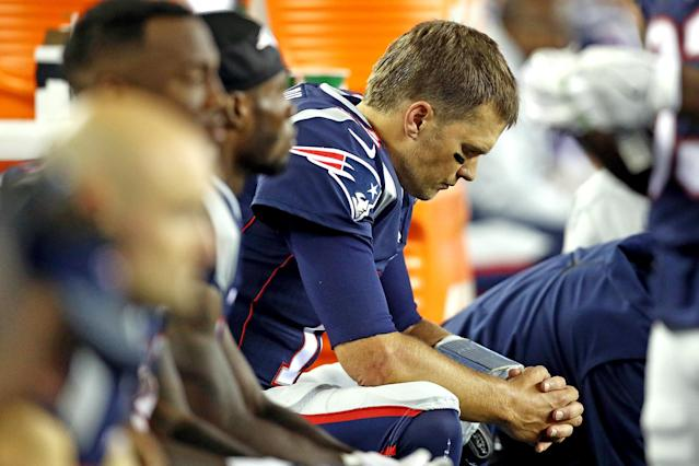 <p>Tom Brady #12 of the New England Patriots reacts on the bench during the second half against the Kansas City Chiefs at Gillette Stadium on September 7, 2017 in Foxboro, Massachusetts. (Photo by Maddie Meyer/Getty Images) </p>