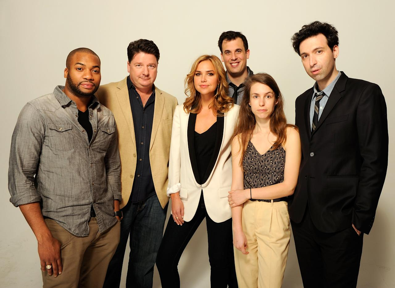 NEW YORK, NY - APRIL 23:  (L-R) Actors Tarik Lowe, Mike Landry, Arielle Kebbel, writer/director Daniel Schechter, Sophia Takal and Alex Karpovsky of the film 'Supporting Characters' visit the Tribeca Film Festival 2012 portrait studio at the Cadillac Tribeca Press Lounge on April 23, 2012 in New York City.  (Photo by Larry Busacca/Getty Images)