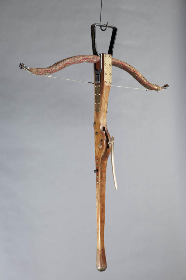 "A crossbow prop from ""Game of Thrones."""
