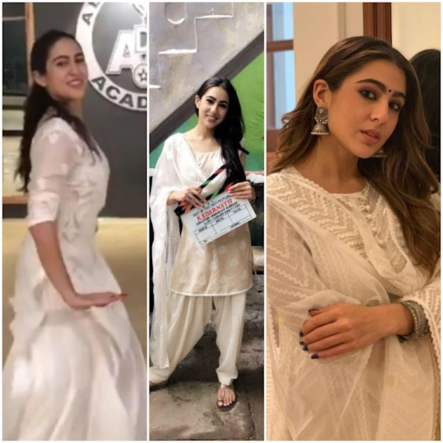 The budding actress has incorporated a lot of whites in her wardrobe; when she is not shooting and not all dolled up, it's easy to catch her in a cotton chikankari set paired with exquisite juttis or mojris. She shares her new additions on insta stories every time brands and boutiques often send her such pieces, expressing her gratitude. White or pastel chikankari pieces are a staple in the Indian summer wardrobe anyway.