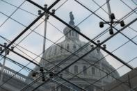 A view of the U.S. Capitol Dome from a skylight inside the building, in Washington