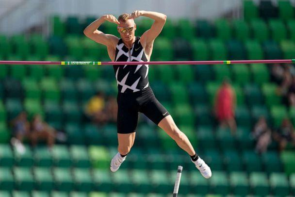 PHOTO: In this June 21, 2021, file photo, Sam Kendricks competes during the finals of the men's pole vault at the U.S. Olympic Track and Field Trials in Eugene, Ore. (Charlie Riedel/AP Photo)