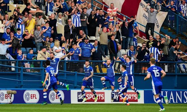 """<span class=""""element-image__caption"""">Steven Fletcher, second left, leaps in celebration with cheering Sheffield Wednesday fans after scoring their second goal against Newcastle. </span> <span class=""""element-image__credit"""">Photograph: Serena Taylor/Newcastle Utd via Getty Images</span>"""