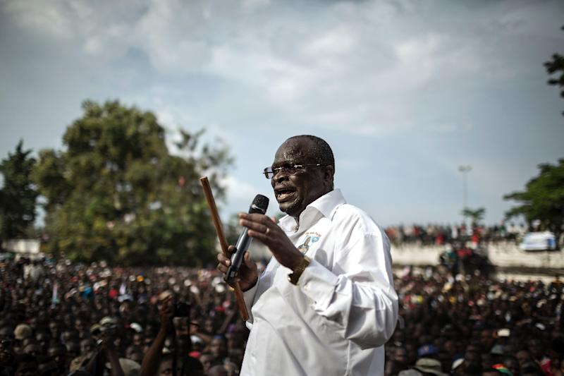 Interim President of the Congolese Movement for Democracy and Integral Development (MCDDI) and Presidential candidate Guy Brice Parfait Kolelas addressing his supporters in Brazzaville on March 17, 2016
