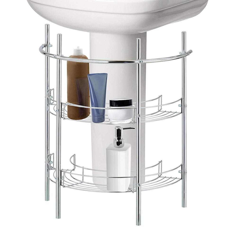 <p>If you have a pedestal sink and are lacking space for products, get this cool <span>MyGift Under-the-Sink Bathroom Storage</span> ($38).</p>