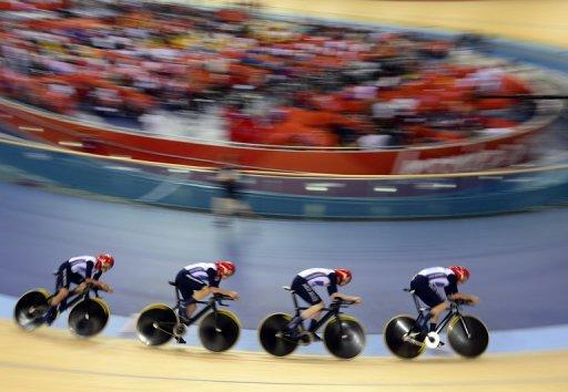 Ed Clancy, Steven Burke, Peter Kennaugh and Geraint Thomas during their world record-setting qualifying round Thursday