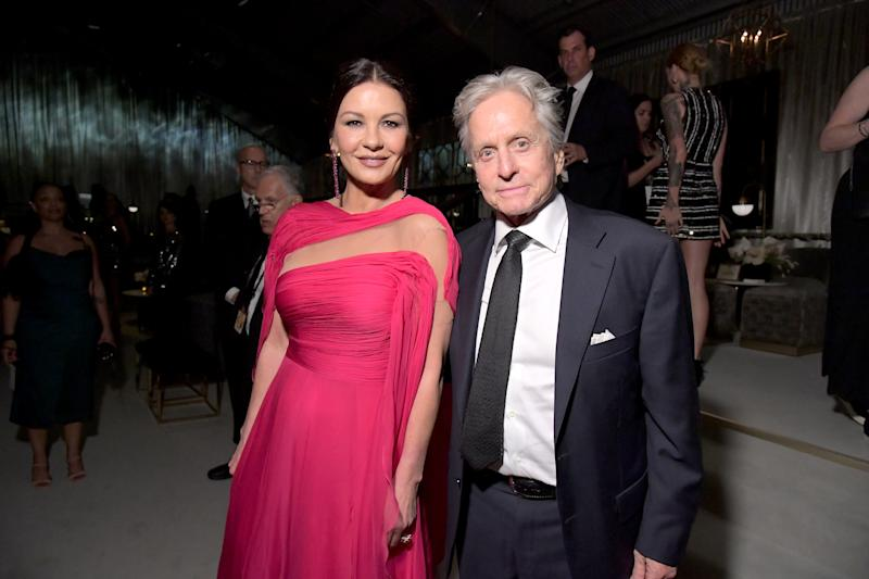 LOS ANGELES, CALIFORNIA - SEPTEMBER 22: (L-R) Catherine Zeta-Jones and Michael Douglas attend the 2019 Netflix Primetime Emmy Awards After Party at Milk Studios on September 22, 2019 in Los Angeles, California. (Photo by Charley Gallay/Getty Images for Netflix)