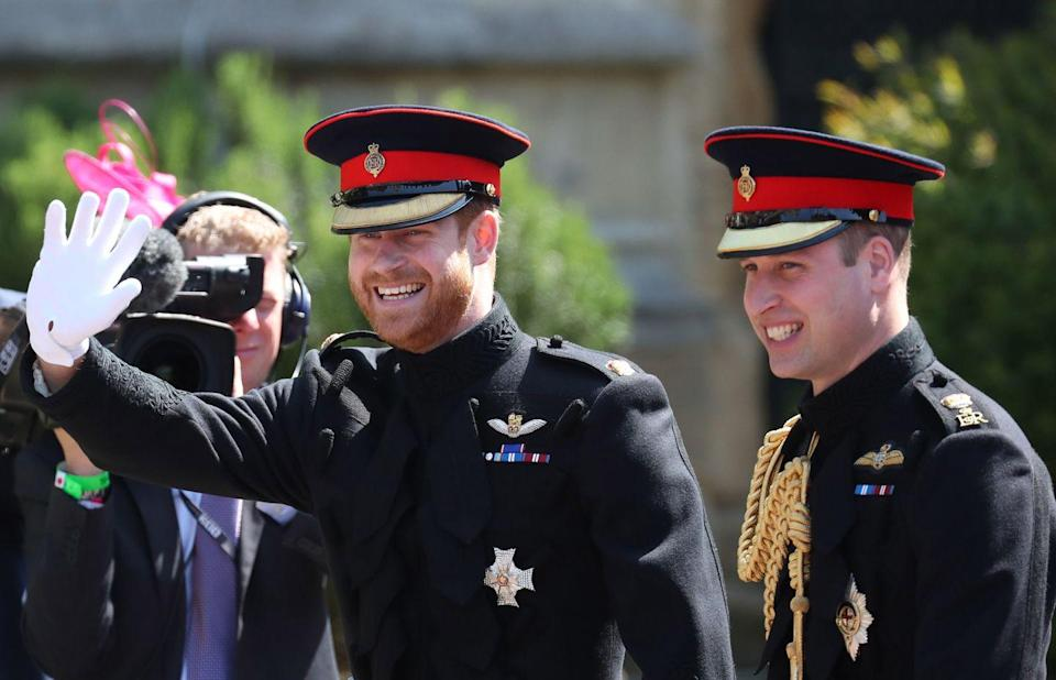 """<p>Prince Harry arrives at <a href=""""https://www.harpersbazaar.com/celebrity/latest/g20839844/best-prince-harry-meghan-markle-royal-wedding-photos-recap/"""" rel=""""nofollow noopener"""" target=""""_blank"""" data-ylk=""""slk:his wedding"""" class=""""link rapid-noclick-resp"""">his wedding</a> to Meghan Markle with his best man and big brother, Prince William.</p>"""