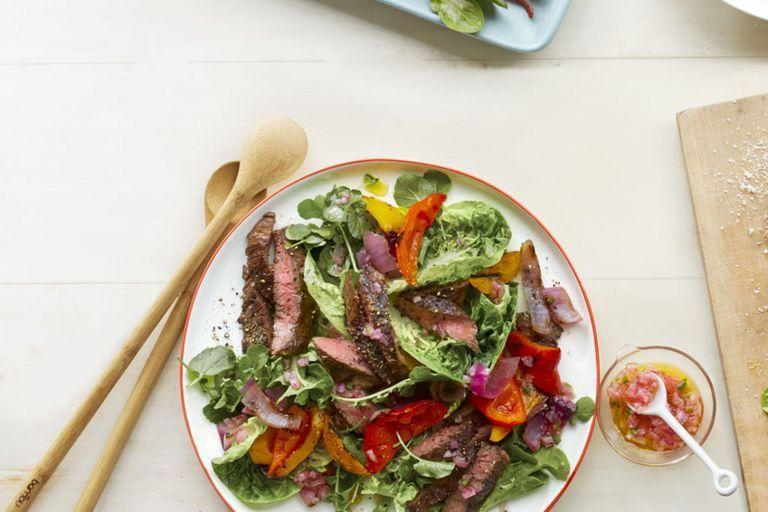 """<p>Put a spicy twist on your salad with this zesty dressing and hearty ingredients that'll have your mouth watering.<br></p><p><em><a href=""""https://www.womansday.com/food-recipes/food-drinks/recipes/a54828/fajita-salad-with-charred-jalapeno-dressing-recipe/"""" rel=""""nofollow noopener"""" target=""""_blank"""" data-ylk=""""slk:Get the Fajita Salad with Charred Jalapeño Dressing recipe."""" class=""""link rapid-noclick-resp"""">Get the Fajita Salad with Charred Jalapeño Dressing recipe.</a></em></p>"""