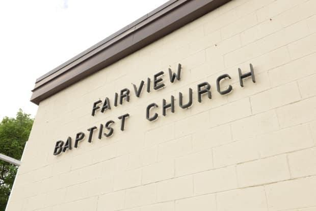 Alberta Health Services physically closed Fairview Baptist Church on Saturday, the health authority said in a release. (Helen Pike/CBC - image credit)