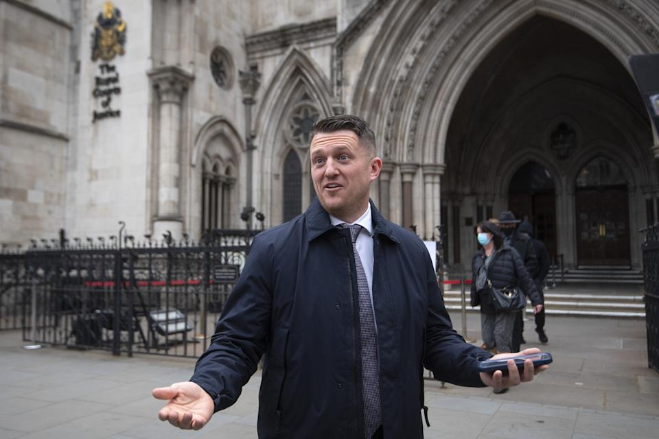 Tommy Robinson outside the Royal Courts of Justice (PA) (PA Wire)