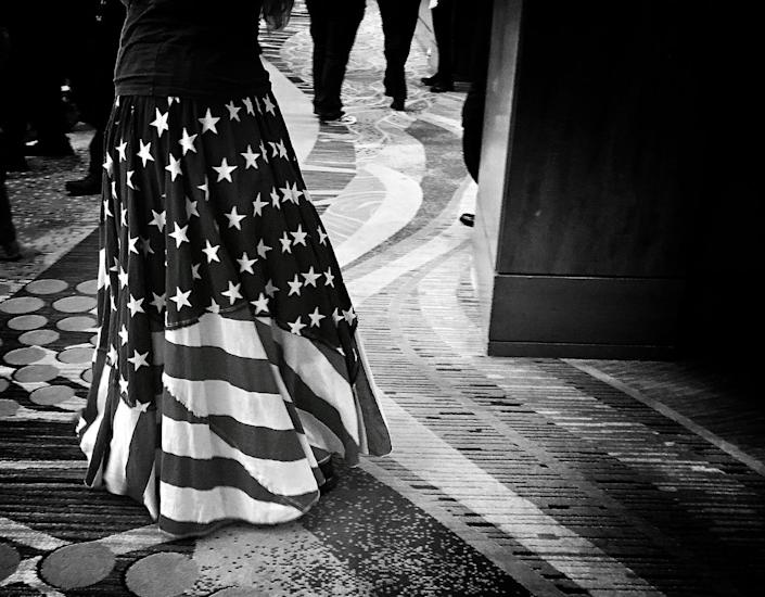 <p>A Trump supporter in an American flag skirt outside a Trump rally, June 17, the Woodlands, Texas. (Photo: Holly Bailey/Yahoo News) </p>